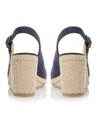 Dune | Blue Karley Canvas Wedge Heeled Sandals | Lyst