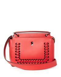 Fendi Red Dotcom Lace-Up Leather Bag
