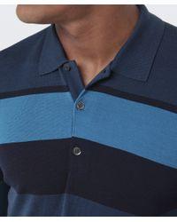 John Smedley - Blue Long Sleeve Pelton Stripe Polo Shirt for Men - Lyst
