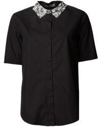Bottega Veneta | Black Print Collar Shirt | Lyst