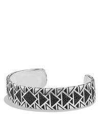 David Yurman   Metallic Frontier Wide Cuff Bracelet With Black Diamonds   Lyst