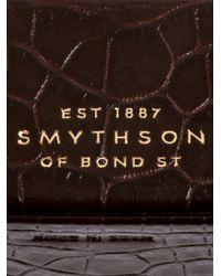 Smythson - Brown Leather Embossed Cufflink Case for Men - Lyst