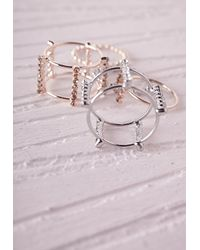 Missguided - Metallic Delicate Cut Out Stacking Rings - Lyst