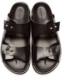 Alexander McQueen - Black Leather Studded Slip-on Sandals for Men - Lyst