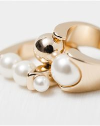 Zara | Metallic Pearl And Gold Rings Pack Of 2 | Lyst