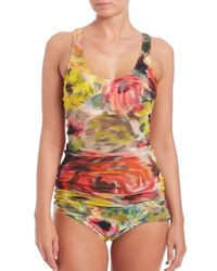 Fuzzi | Blue Two-piece Floral Tulle Overlay Tankini | Lyst