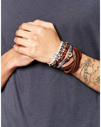 ASOS - Blue Leather Bracelet Pack With Nautical Charm for Men - Lyst