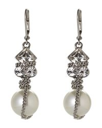 Givenchy | Metallic Silver-Tone Accented Faux Pearl Earrings | Lyst