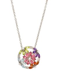 Asprey Multicolor Daisy Multistone Pendant Necklace