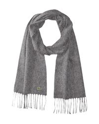 Lacoste | Gray Wool Cashmere Twill Scarf for Men | Lyst
