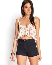 Forever 21 | White Floral Crop Top | Lyst