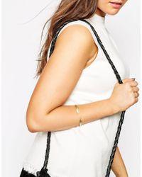 ASOS - Metallic Open Feather Cuff Bracelet - Lyst