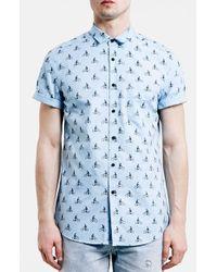 TOPMAN | Blue Slim Fit Short Sleeve Bike Print Shirt for Men | Lyst
