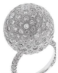 NSR Nina Runsdorf - White Diamond And Gold Bauble Ring - Lyst