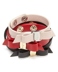 Ferragamo | Black Leather Vara Single Wrap Bracelet | Lyst