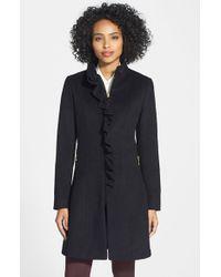 T Tahari Black 'kenya' Ruffle Front Wool Blend Coat