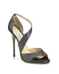 Jimmy Choo   Gray Tyne Asymmetrical Leather & Lurex Sandals   Lyst