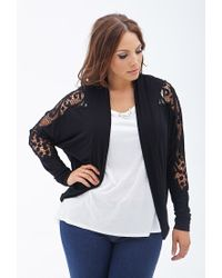 Forever 21 - Black Plus Size Crocheted Knit Cardigan - Lyst