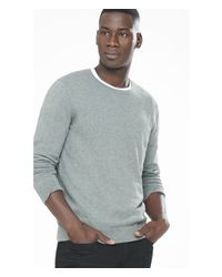 Express - Gray Cotton-cashmere Crew Neck Sweater for Men - Lyst