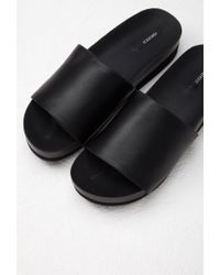 Forever 21 | Black Faux Leather Platform Slides | Lyst