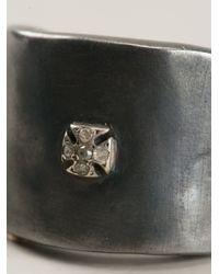 Rosa Maria - Metallic 'Kim' Cross Ring for Men - Lyst