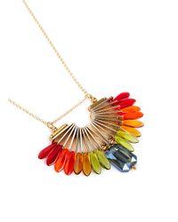 Scho Multicolor Sky Paradise Rainbow Bead Crystal Necklace