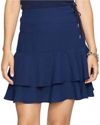 Lauren by Ralph Lauren Blue Petite Ruffled Crepe Skirt