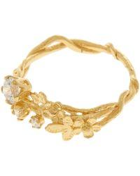 Alex Monroe Metallic 18ct Gold Diamond Wild Posy Ring