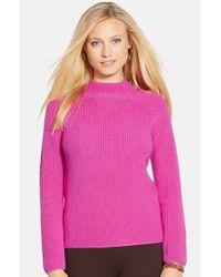 Lauren by Ralph Lauren Pink Mock Neck Merino Sweater
