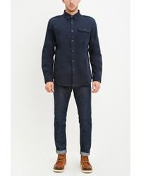Forever 21 - Blue Classic Cotton Shirt for Men - Lyst