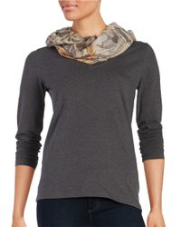 Lord & Taylor | Brown Floral Knit Infiniti Scarf | Lyst