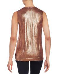 Anne Klein | Red Shimmer-knit Sweater Vest | Lyst