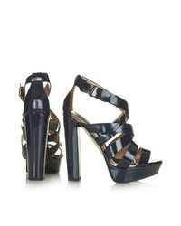 TOPSHOP Blue Lucky Strappy Platform Sandals