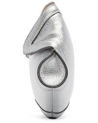 Alexander McQueen - Metallic Silver Leather Small De Manta Clutch - Lyst
