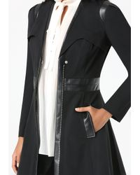 Bebe | Black Ita Fit & Flare Trench Coat | Lyst