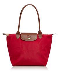 Longchamp Red Le Pliage Medium Shoulder Tote