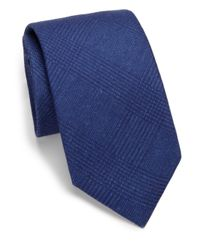 Saks Fifth Avenue | Blue Solid Plaid Silk & Wool Tie for Men | Lyst
