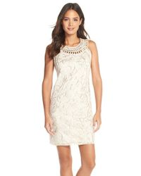 Eliza J | Metallic Applique Mesh Sheath Dress | Lyst