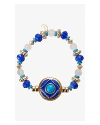 Express | Blue Ornate Bead And Medallion Stretch Bracelet | Lyst