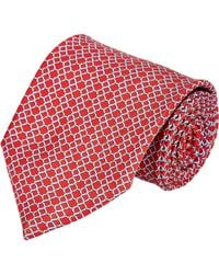 Brioni Red Chain Link-Print Neck Tie for men