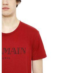 Balmain - Red Logo Printed Cotton T-shirt for Men - Lyst