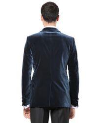 Façonnable Blue Stretch Cotton Velvet Tuxedo Jacket for men