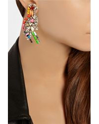 Shourouk - Multicolor Parrot Gold-Plated Swarovski Crystal Clip Earrings - Lyst