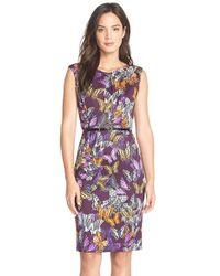 Ellen Tracy - Multicolor Belted Print Scuba Knit Sheath Dress - Lyst