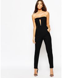 Oh My Love | Black H My Love Plunge Catsuit With Metal Bar Detail | Lyst