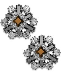 kate spade new york | Metallic Silver-Tone Stone And Crystal Floral Cluster Earrings | Lyst