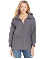 Eileen Fisher | Gray Waterproof Hooded Anorak Jacket | Lyst