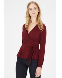 Warehouse Purple Long Sleeve Wrap Top