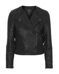 TOPSHOP - Black Petite Faux Leather Collarless Biker Jacket - Lyst