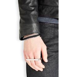 Vitaly Metallic Triplo Silver Tone Three Finger Ring for men
